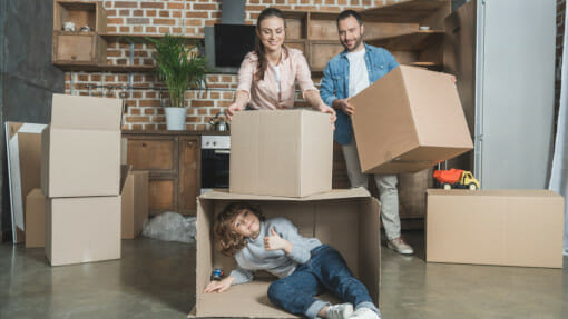 Family preparing to move house