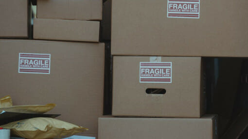 boxes of fragile items